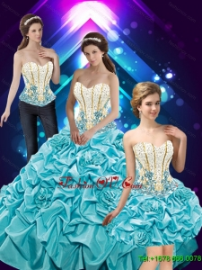 Luxurious Hand Made Flowers and Beaded Quinceanera Dresses with Pick Ups For 2015 Fall