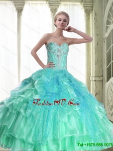 Perfect Lace Up Sweetheart Quinceanera Dresses with Beading For 2015 Summer
