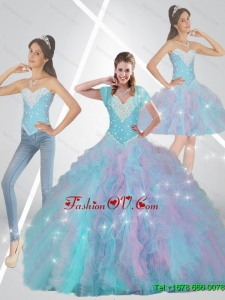 Prefect Multi Color Quinceanera Dresses with Beading and Ruffles For 2015 Fall
