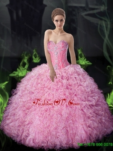 Pretty Ball Gown Beaded and Ruffles Quinceanera Dresses For 2015 Summer