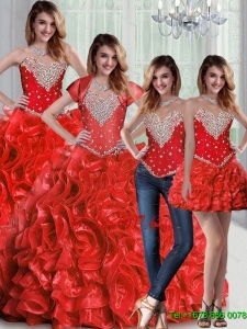 Pretty Sweetheart Red Quinceanera Dresses with Beading and Ruffles For 2015 Summer