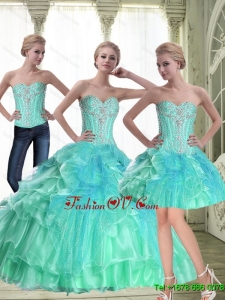 Top Seller A Line 2015 Fall Quinceanera Dresses with Beading