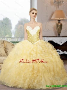 Top Seller Sweetheart Quinceanera Dresses with Beading and Ruffles For 2015 Summer