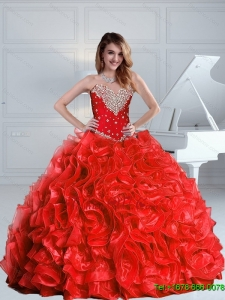 2015 Fall New Style Beaded and Ruffles Quinceanera Dresses in Red