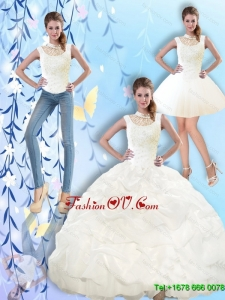 2015 Fall Pretty High Neck and Beaded Quinceanera Dresses with Pick Ups
