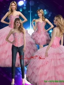2015 Summer Luxurious Sweetheart Baby Pink Quinceanera Dress with Beading