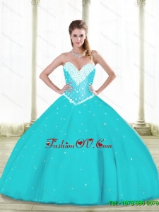 2015 Summer Prefect Aqua Blue Quinceanera Dresses with Beading and Ruffles