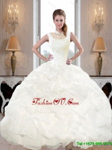 New Arrival 2015 Fall High Neck and Beaded Quinceanera Dresses with Pick Ups