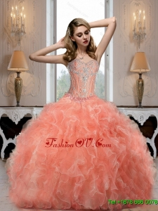 New Arrival Sweetheart Watermelon Quinceanera Dresses with Beading for 2015 Summer