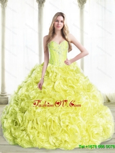 Prefect Beaded Quinceanera Dresses with Rolling Flowers in Yellow For 2015 Summer