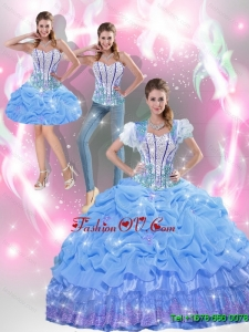 Elegant Beaded Baby Blue Quinceanera Dresses with Appliques and Pick Ups For 2015 Fall