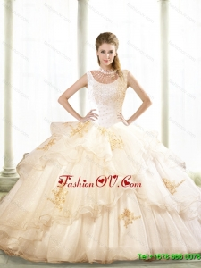 2015 Summer Pretty Beading and Appliques Sweet Sixteen Dresses in Champagne