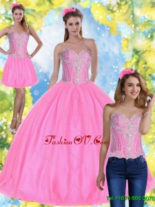 Beautiful Ball Gown Pink 2015 Summer Sweet Sixteen Dresses with Beading