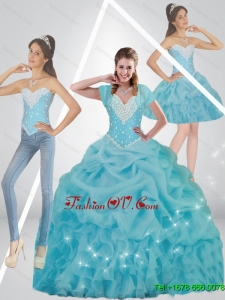 Beautiful Beaded 2015 Fall Sweet Sixteen Dresses in Baby Blue