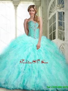 Beautiful Sweetheart Quinceanera Dresses with Ruffles and Beading For 2015 Summer