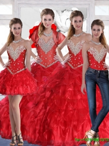 For 2015 Summer Prefect Sweetheart Sweet Sixteen Dress with Ruffles and Beading in Red