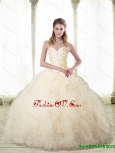Luxurious Champagne Sweetheart Sweet Sixteen Dresses with Beading For 2015 Fall