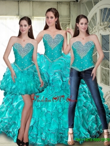 Luxurious Lace Up Sweet Sixteen Dresses with Beading and Ruffles For 2015 Summer