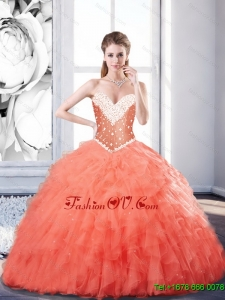 New Arrival Sweetheart Watermelon Sweet Sixteen Dresses with Beading and Ruffles For 2015 Fall