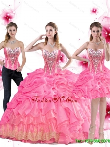 New Style Rose Pink Sweet Sixteen Dress with Beading and Pick Ups For 2015 Summer