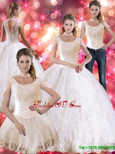 Prefect Laceed and Beaded Sweet Sixteen Dress with Cap Sleeves For 2015 Summer