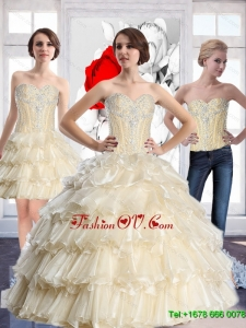 Prefect Sweetheart Sweet Sixteen Dresses with Beading and Ruffled Layers For 2015 Summer