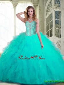 Pretty Sweetheart Aqua Blue Sweet Sixteen Dresses with Beading and Ruffles For 2015 Summer