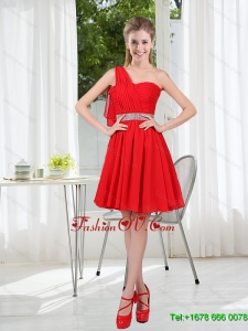 2015 One Shoulder A Line Dama Dresses with Ruching