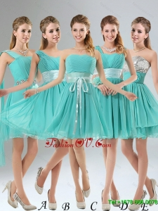 2015 A Line Ruching Lace Up Short Dama Dress in Aqua Blue