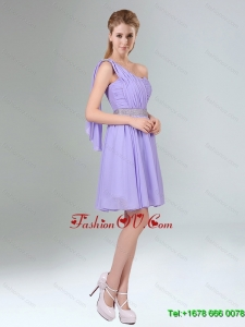 2015 Beaded and Ruched Short Dama Dress in Lavender