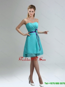 2015 Blue And Purple Sweetheart Dama Dresses with Ruches