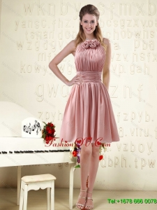 2015 Halter Ruching and Handmade Flowers Empire Chiffon Dama Dresses