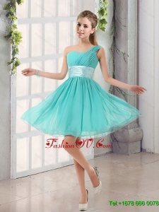 2015 Natural One Shoulder A Line Ruching Lace Up Dama Dress
