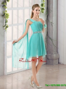 2015 One Shoulder A Line Beading and Ruching Short Dama Dress with Lace Up
