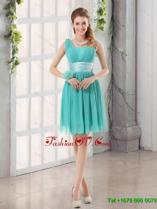 Elegant Straps Ruching Sweetheart A Line Dama Dress