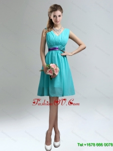 Elegant V-neck Ruched Dama Dress with Belt for Sale