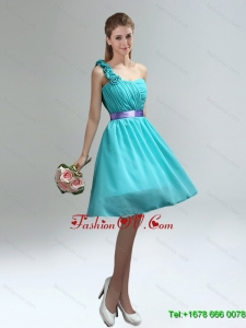 Luxurious One Shoulder Ruches Teal Dama Dresses with Belt