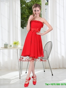 Pretty Ruching Strapless Bowknot Dama Dress in Red