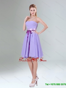 Top Seller Lavender Ruched Mini Length Dama Dress with Bowknot Sash