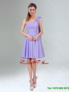 Top Seller Mini Length Lavender Dama Dress with Ruching and Handmade Flower