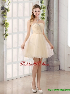 2015 A Line Belt Mini Length Dama Dress with Strapless