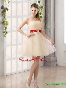 2015 A Line Belt Strapless Dama Dress with Mini Length