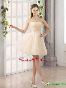 2015 Appliques Strapless A Line Mini Length Dama Dress