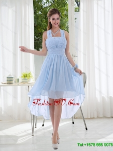 2015 Halter RuchingNatural Chiffon Dama Dress