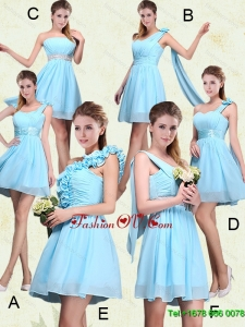 2015 Ruching Chiffon Aqua Blue Dama Dresses with Mini Length