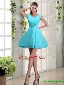 2015 Ruching and Hand Made Flowers V Neck A Line Dama Dress