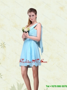 Elegant Ruching One Shoulder Chiffon Dama Dresses