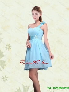 Luxurious A Line Ruching Chiffon Dama Dresses with One Shoulder
