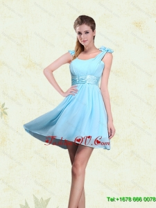 Luxurious A Line Straps Dama Dresses with Ruching and Bowknot
