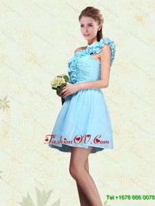 Luxurious Ruching and Ruffles One Shoulder Chiffon Dama Dresses